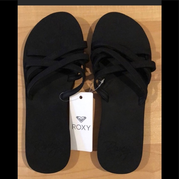 Roxy Abbie Black Strappy Slides